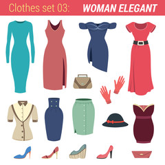 Dress vector icon set. Dresses, hat, shoes, gloves, skirts.