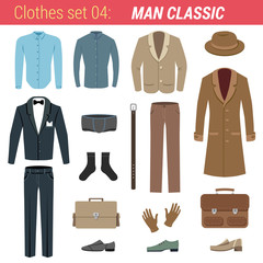 Man classic clothing vector icon set. Tuxedo, jacket etc.