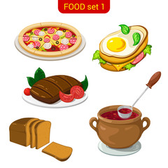 Main meal menu vector icon set. Pizza, fried eggs, steak, soup.