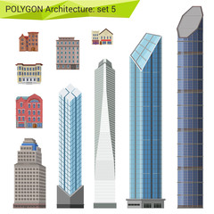 Polygonal style skyscrapers, houses and buildings set