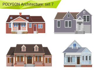 Polygon style countryside and suburbs houses set