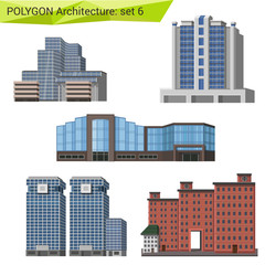Polygonal style commercial property set. City design elements.