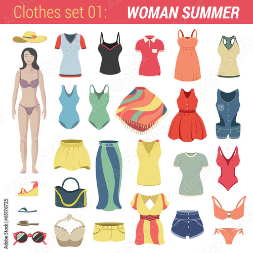 Woman summer clothing vector icon set. Pants, bra, dress etc. - 65176725