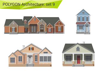 Polygon style residential houses & buildings set. City suburbs.