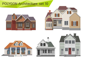 Polygon style houses and buildings set. Countryside.