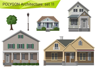 Polygon style houses and buildings set. Countryside and suburbs.