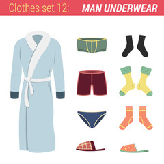Man underwear clothing vector icon set. Bathrobe, trunks, socks.