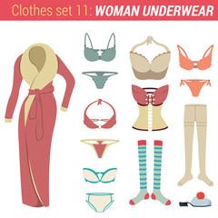 Woman underwear clothing vector icon set. Robe, thongs, bra etc.