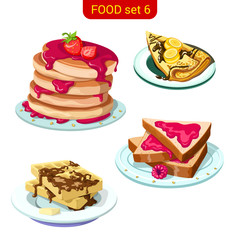 Sweet pancake & toast with jam & chocolate vector icon set.