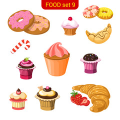 Sweet dessert vector icon set. Donut, croissant, muffin.