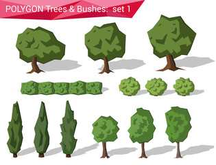 Polygon trees & bushes abstract vector set
