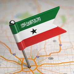 Somaliland Small Flag on a Map Background.