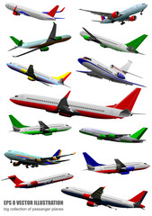 Big collection of airplane on the air. Vector illustration