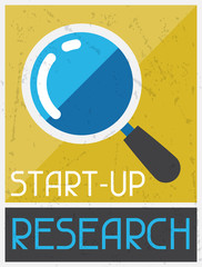 Start-up Research. Retro poster in flat design style.