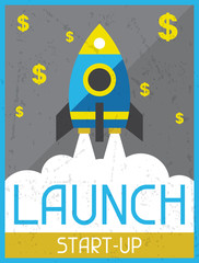 Launch Start-up. Retro poster in flat design style.