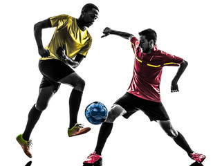 two men soccer player  standing silhouette