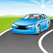 Vector illustration. Blue car on the road.