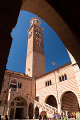 Verona, northern Italy, Ancient Street, bell tower in the arch