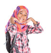 Young Asian Muslim girl with head scarf and backpack over white