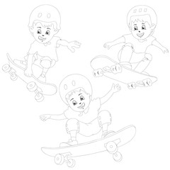Cartoon skater boys flying through the air . Drawing style