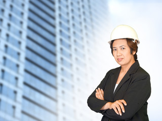 Beautiful young businesswoman and the modern business center