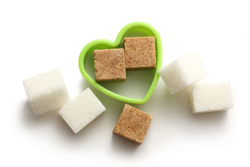 Sugar cubes in heart form