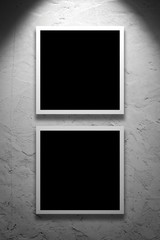 Two Square Paintings hanging on the art gallery wall
