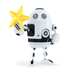3D Robot with golden star. Isolated. Contains clipping path.