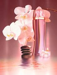 Kosmetik mit Orchideen und Schmucksteine