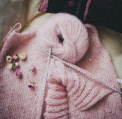 Pink yarn, dried roses and started knitting