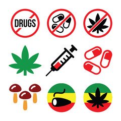 Drugs, addiction, marijuana, syringe colorful icons set
