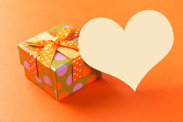 Orange gift box with plain card