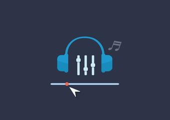 Set of flat illustration design music concept