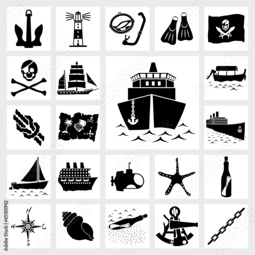Vector icon set nautical - 65180942