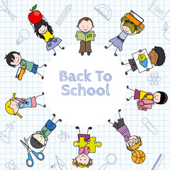 Card back to school.  Children and education icons