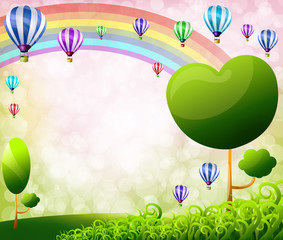 Colorful balloons on Green meadow