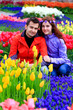 couple in tulip field