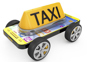 Taxi sign and Smartphone on wheels