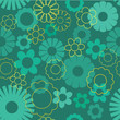 Turquoise Seamless floral pattern