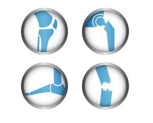 Medizin Icons - Knie - Hüfte - Fuß - Trauma