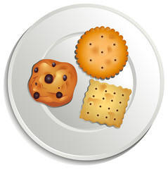 A plate with biscuits