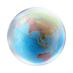 asia globe in bubble
