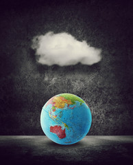 world under cloud