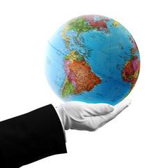 waiter holding USA globe