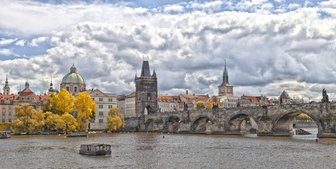 Prague Charles bridge in fall