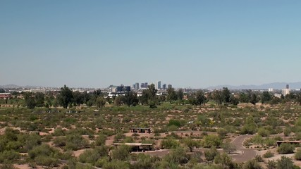 View of Papago Park with the Phoenix city skyline. Arizona, USA.