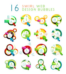 Set of swirl web design infographic bubbles