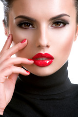 Beautiful young woman with red lipstick.