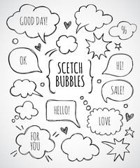 Vector hand drawn set of sketch speech bubbles
