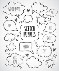 Vector hand drawn set of sketch speech bubbles